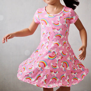 Girls Unicorn and Rainbow Flare Dress A20135I