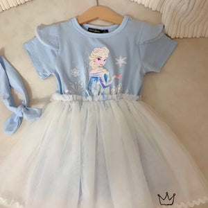 3-8Y Girls Frozen Tulle Dress G20133L
