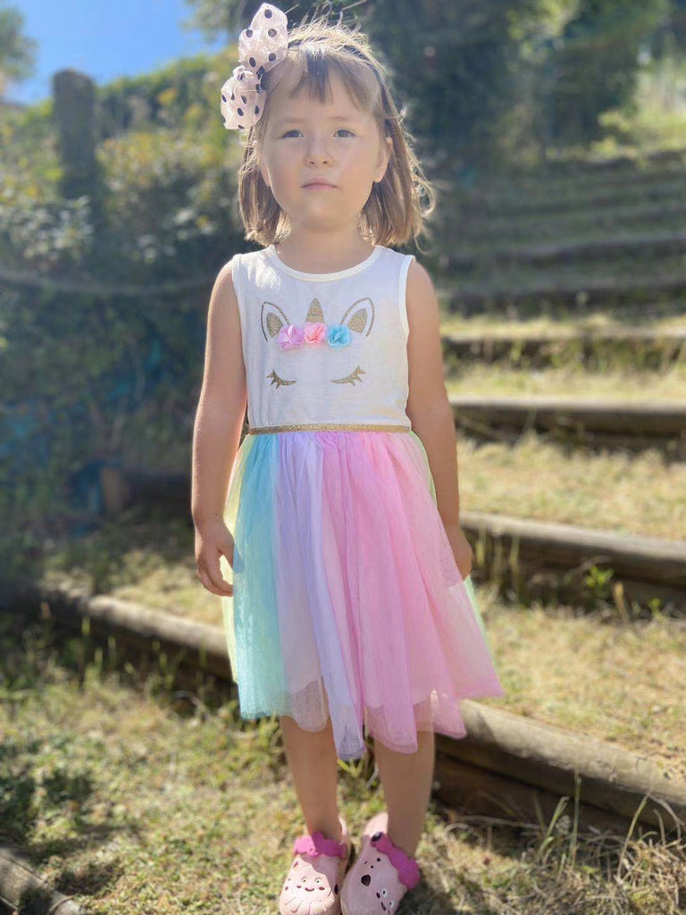 2-10Y Girls Unicorn Rainbow Tulle Dress A20136K