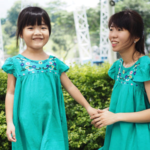 3-15Y Girls Green Embroidery Dress G21034G (Mother size available)