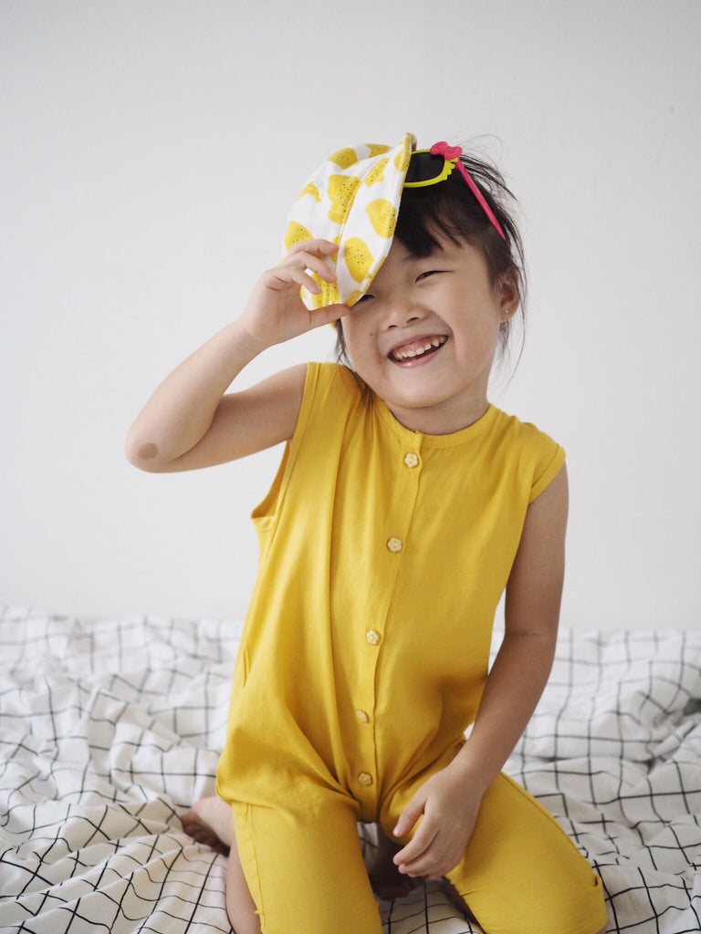 1-6Y Girls Yellow Collar Romper A20125A