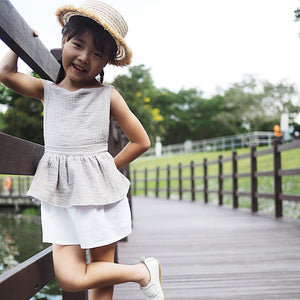 1-5Y Girls Linen Cotton Layers Dress G20125I
