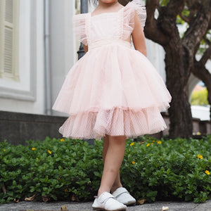 3-10Y Girls Lace Tulle Pinafore Dress A20129I