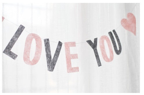 Party Flag Bunting Garland Set I Love You A7042G