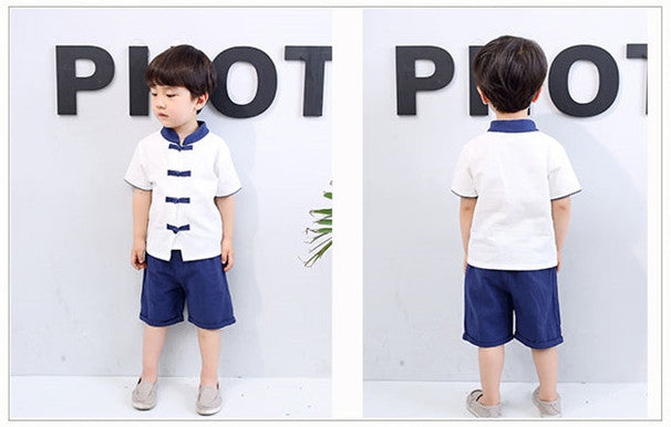 2-6Y Boys Kungfu Top and Bottom 2pcs Set A100C41D