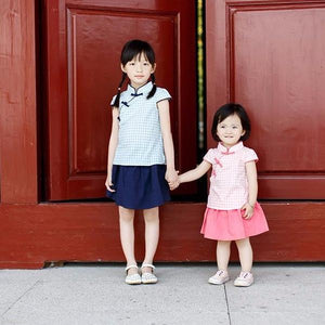 2-8Y Girls Blue Checker Cheongsam Top and Bottom 2pcs Set A200C41B