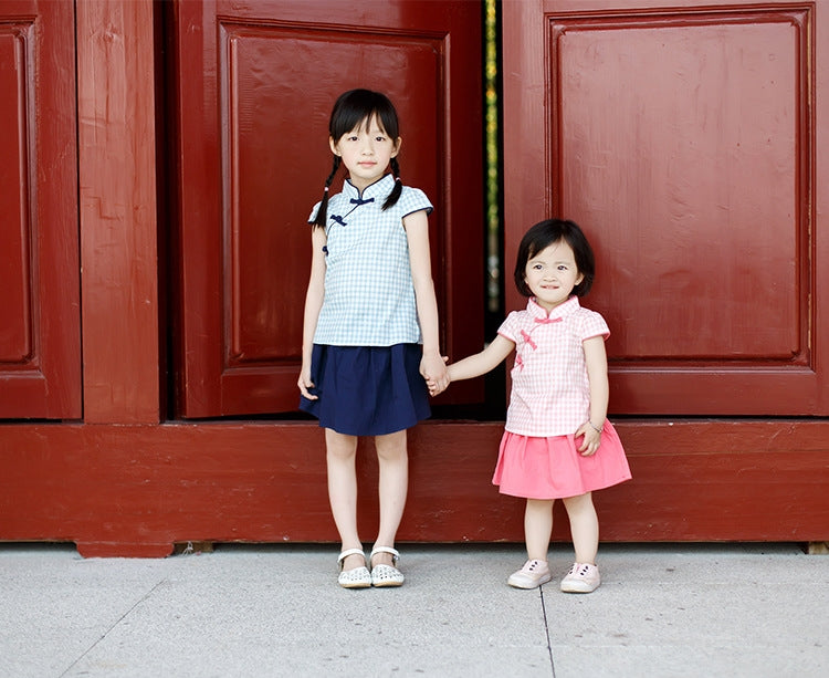 2-8Y Girls Pink Checker Cheongsam Top and Bottom 2pcs Set A200C41A