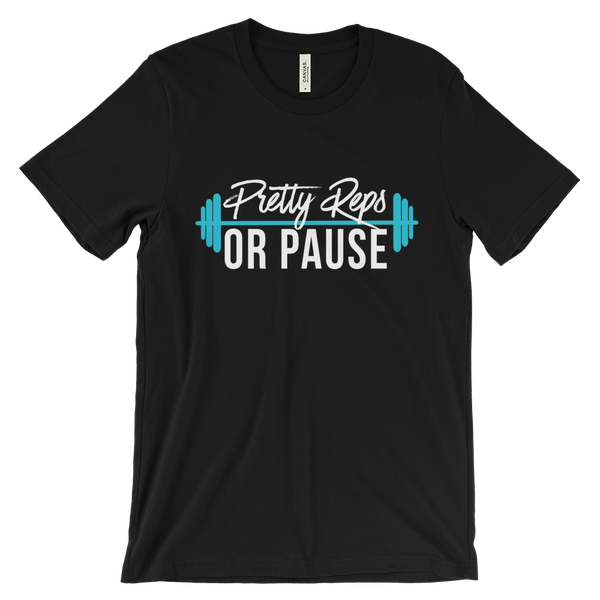 Black Pretty Reps or Pause Loose Fitting Crew Neck Tee