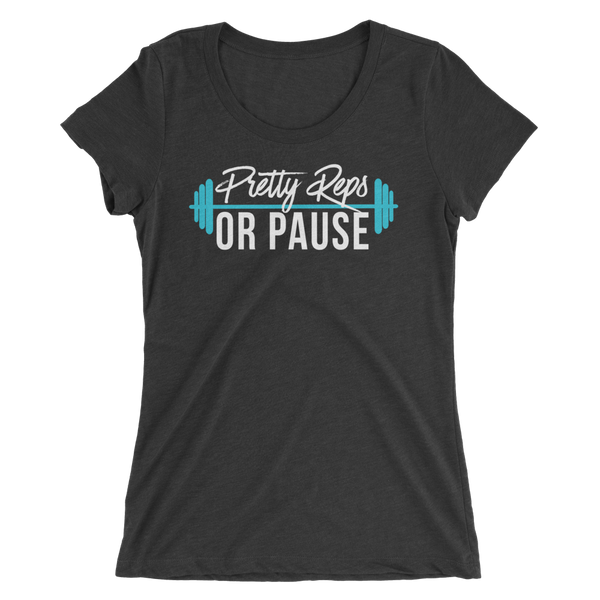 Charcoal Pretty Reps or Pause Scoop Neck Tee