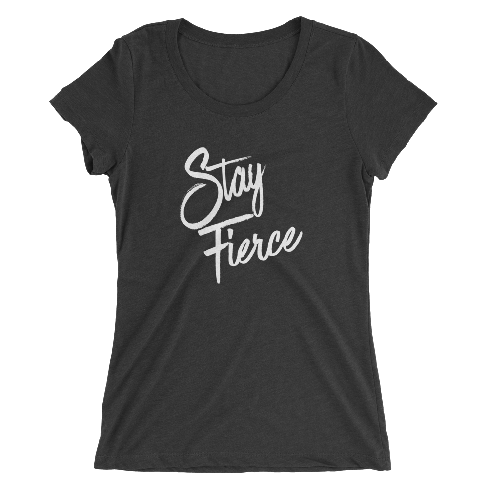 Charcoal Stay Fierce Scoop Neck Tee