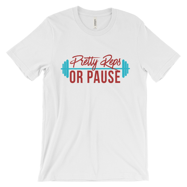 White Pretty Reps or Pause Loose Fitting Crew Neck Tee