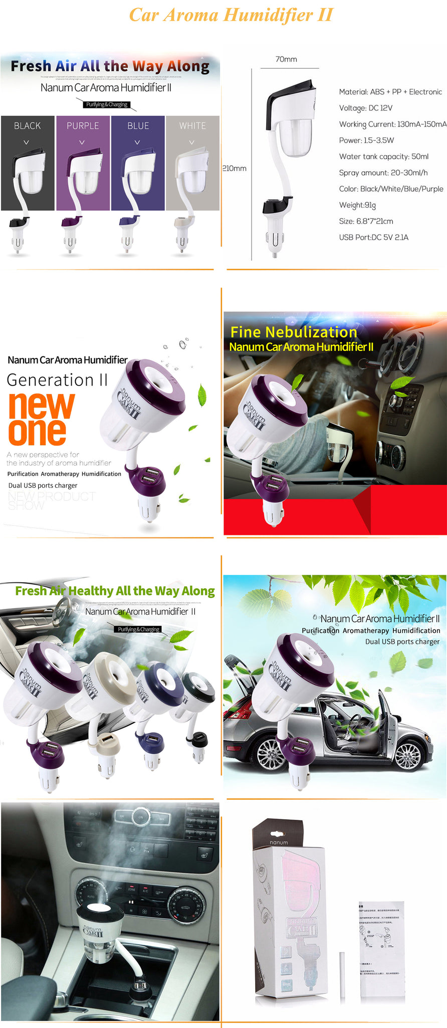Car Humidifier Essential Oil Diffuser Dual Usb Charger Ultrasonic Parfum Nanum When The Product Is Not Being Used Please Detach It Pour Out All Liquid And Store In A Cool Dry Place