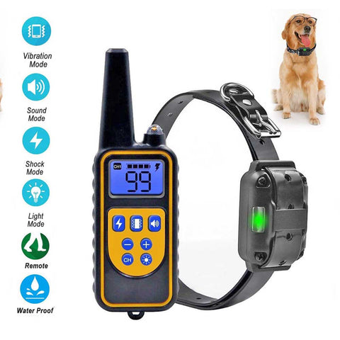 Dog Training Collar Remote Control Vibration Shock Sound 800 Yards Rechargeable Waterproof L880