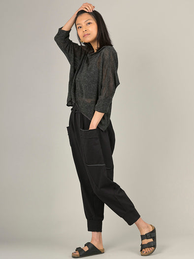Cropped Jogger Pants with Raw Seams