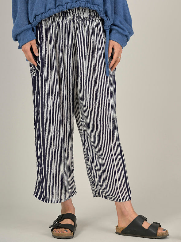 Stripe Harem Pants - Wide Leg Cropped