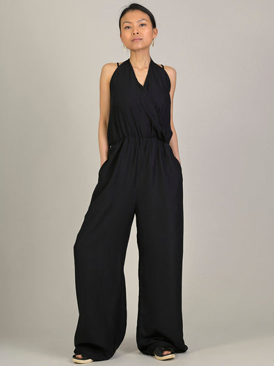 Plain Colour Halter Neck Jumpsuit