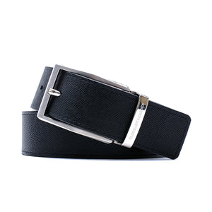 Elephant Garden Men's Soft Cross grain Belt with Steel Buckle-Black-B7606