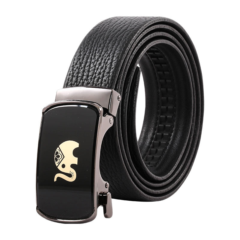 Elephant Garden Men's Leather Belt with Automatic Elephant Logo Buckle B9812
