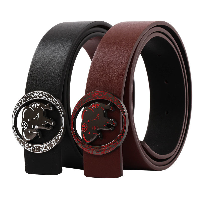 Elephant Garden Leather Belt with Detachable Buckle  B9802