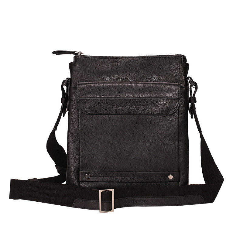 Elephant Garden Men's Leather Shoulder Bag -Black- H70428