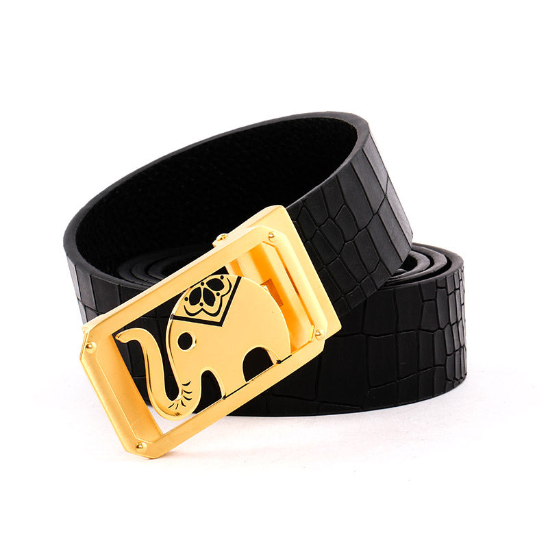 Elephant Garden Men's Crocodile Print Leather Belt with Golden Automatic Buckle B9104