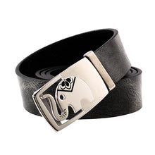 Load image into Gallery viewer, Elephant Garden Men' s Leather Belt with Automatic Buckle  Black B9102  One Size