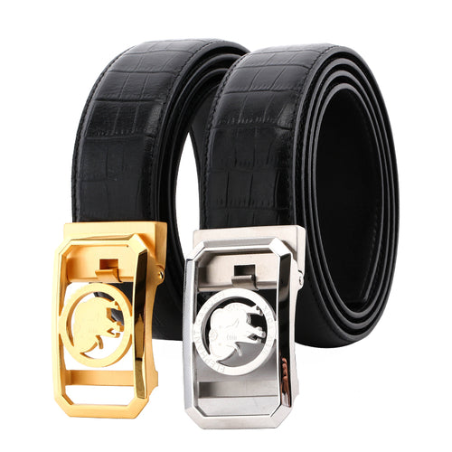 Elephant Garden Men's Crocodile Print Leather Belt with Automatic Buckle  B8604