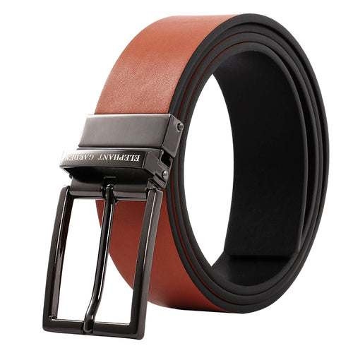 Elephant Garden Men's Reversible Leather Belt with Steel Buckle-Black-B9805