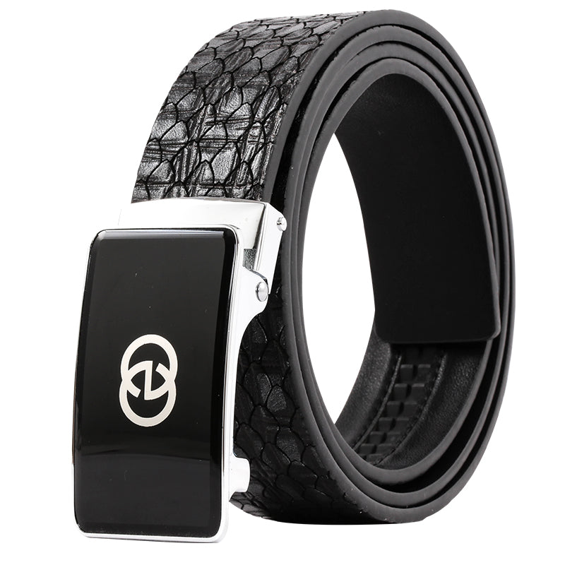 Elephant Garden Men's Leather Belt with Automatic Buckle B9816 One Size Black Friday