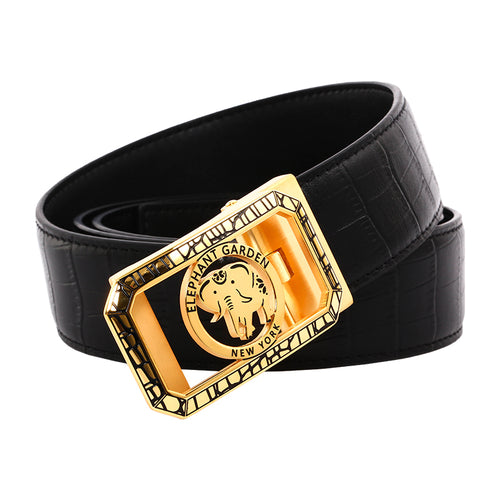 Elephant Garden Men's Classic Crocodile Print Leather Belt with Automatic Buckle -Black-B7224