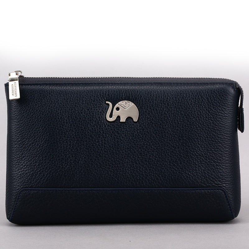Elephant Garden Men's Zip-Top Leather Pouch  H84003