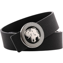 Load image into Gallery viewer, Elephant Garden Men's Litchi Grain Leather Belt with Steel Buckle-Black-B9110