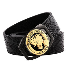 Load image into Gallery viewer, Elephant Garden Braid Leather Belt with Golden Logo Buckle - Black -B9401