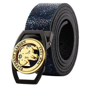 Women & Men's Leather Belt With Black /Golden Logo Buckle Blue Black -B9103
