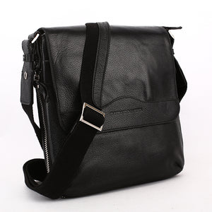 Elephant Garden Men's Leather Flapover Crossbody Bag- Black - H70430