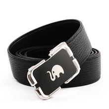 Load image into Gallery viewer, Elephant Garden Men's Leather Belt with Automatic Elephant Logo Buckle B9813 One Size