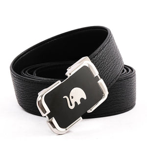 Elephant Garden Men's Leather Belt with Automatic Elephant Logo Buckle B9813 One Size