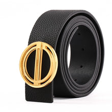 Load image into Gallery viewer, Elephant Garden Men's Litchi Grain Leather Belt with Steel Buckle  Black B7237