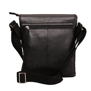 Elephant Garden Men's Leather Crossbody Bag-Black- H70427