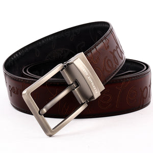 Men' s Reversible Leather Belt with Steel Buckle Black/Brown  B9108  One Size