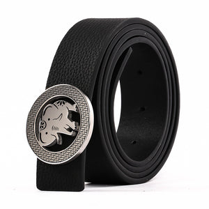 Elephant Garden Men's Litchi Grain Leather Belt with Steel Buckle-Black-B9110