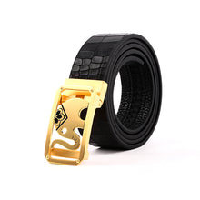 Load image into Gallery viewer, Elephant Garden Men's Crocodile Print Leather Belt with Golden Automatic Buckle B9104