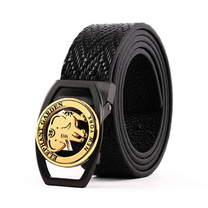 Elephant Garden Braid Leather Belt with Golden Logo Buckle - Black -B9401