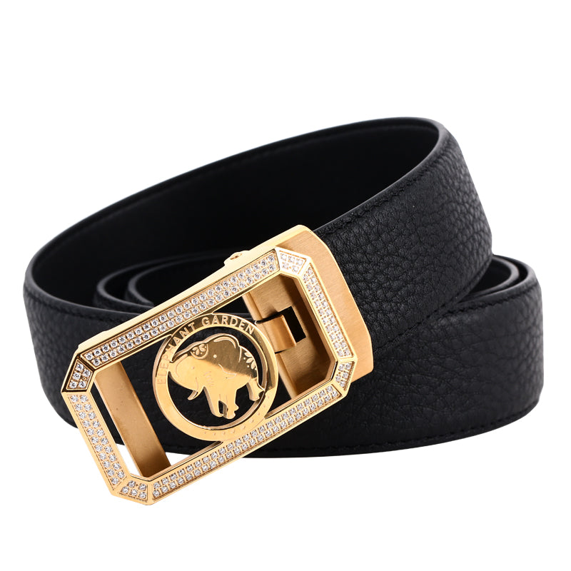Elephant Garden Men's Classic Leather Belt with Golden Diamond Automatic Buckle -Black-B8202