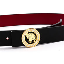 Load image into Gallery viewer, Elephant Garden Women's leather belt with Diamond Logo Buckle-B9809
