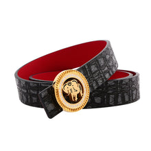 Load image into Gallery viewer, Elephant Garden Phoenix Print Leather Belt with Diamond Logo Buckle-B9811