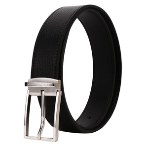 Elephant Garden Men's Litchi Grain Leather Belt with Steel Buckle Black B7929