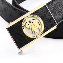 Load image into Gallery viewer, Elephant Garden Men's Ostrich Leather Belt with Golden Automatic Buckle Black B9815