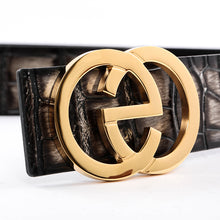 Load image into Gallery viewer, Elephant Garden Men's Crocodile Print Leather Belt with EG Logo Buckle  B9817