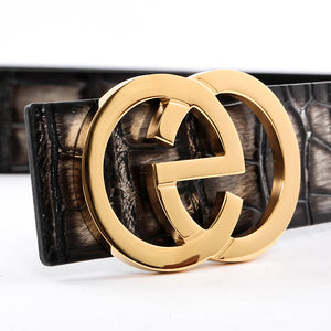 Elephant Garden Men's Crocodile Print Leather Belt with EG Logo Buckle  B9817